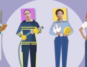 Quatre dones migrades ocupant diferents llocs de feina. Font: Accem