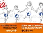 """Imatge de la campanya """"Hi ha nenes amb penis i nens amb vulva"""" denunciant la censura a Facebook. Font: Pàgina de Facebook de Chrysallis Euskal Herria"""
