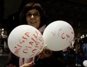 Beatriu Guarro en una manifestació pel canvi de nom de la Plaça Antonio López.