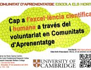 """Cartell de la conferència """"Cap a l'Excel·lència científica i humana a través del voluntariat en Comunitats d'Aprenentatge"""""""