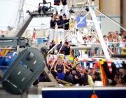 Els Xiquets del Serrallo de Tarragona van alçar un 3 de 6 sobre una barca