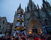 Castellers davant la Catedral de Barcelona