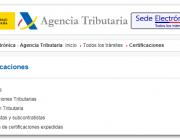 Sol·licitud certificat tributàri. Font: Agència Tributària