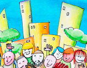 Il·lustració de persones davant d'uns edificis