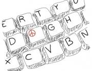 Teclat d'ordinador amb el símbol de la pau. Imatge del curs sobre cultura de pau