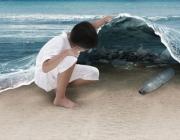 Imatge d'un nen que troba brutícia sota una onada