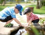 Infants jugant en un parc.