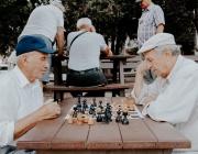 Dos homes grans juguen a escacs.