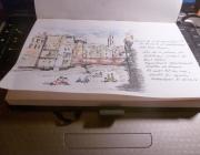 Dibuix de la Baixada d'Andròmines per l'Onyar. Imatge: Girona Urban Sketchers