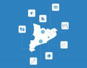 Il·lustració amb el mapa de Catalunya i diversos gràfics