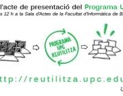 Cartell d'invitació a l'acte de presentació 30 de setembre UPC Reutilitza