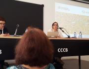 Irene Borràs, en una intervenció al 3r Congrés Congrés Català de l'Associacionisme i el Voluntariat. Font: Twitter