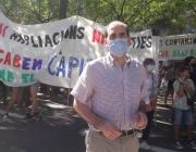 Jordi Giró a la manifestació contra l'ampliació de l'areoport del Prat. Font: CONFAVC