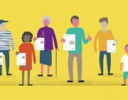 Il·lustració de persones amb un document a la mà