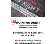 Cartell del taller per a joves sobre drets humans: Sí hi ha Dret!