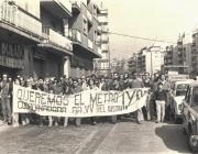 Manifestació veïnal pel transport públic. Foto: arxiu històric de Roquetes-Nou Barris.