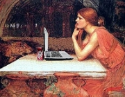 """Circe Surfs the Web, after John William Waterhouse"". Pintura de Mike Licht."