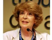 Susan George assisteix a la jornada organitzada pel dia mundial de l'Aigua a Barcelona (imatge: AttacMadrid)