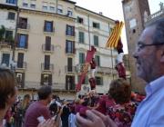 Actuació castellera a Verona durant l'Aplec