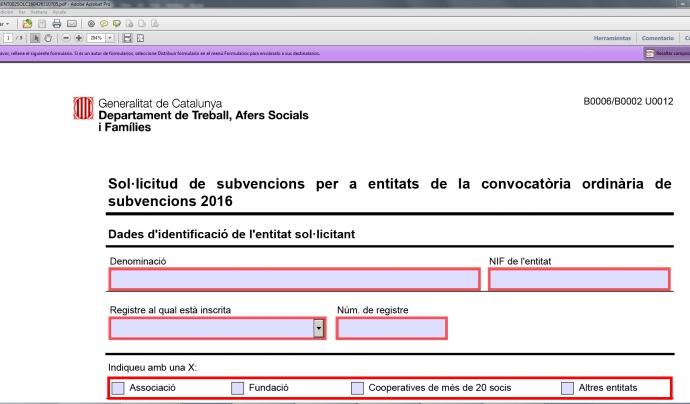 Dins el formulari haureu d'omplir les dades d'identificació.