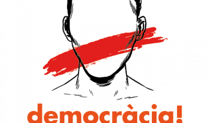 Imatge a favor de la democràcia i contrària a l'aplicació de l'article 155 Font: Òmnium Cultural