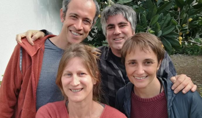 Equip de treball de femProcomuns, amb David Jacovkis Halperin, David Gómez Fontanills, Raquel Prado Pérez i Mònica Garriga Miret (d'esquerra a dreta) Font: Femprocomuns
