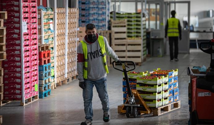 L'activitat al magatzem del Banc dels Aliments de Barcelona no s'ha pogut atruar en cap moment malgrat la pandèmia. Font: Banc dels Aliments Barcelona