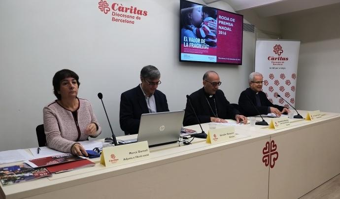 Representants de Càritas Diocesana de Barcelona durant la presentació de l'informe. Foto: CDB.