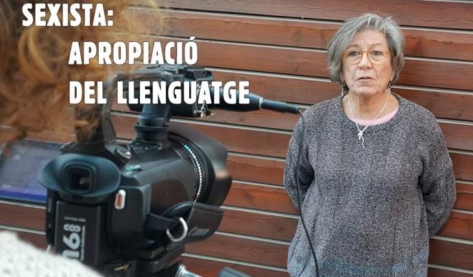 Gravant l'entrevista a Teresa Sanz, professora de literatura jubilada i activista de Ca La Dona Font: No Afluixis la Llengua