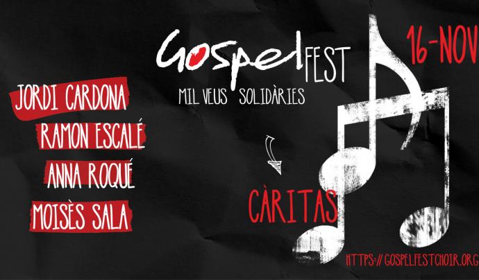 Cartell del concert de gòspel solidari de Caritas Barcelona.