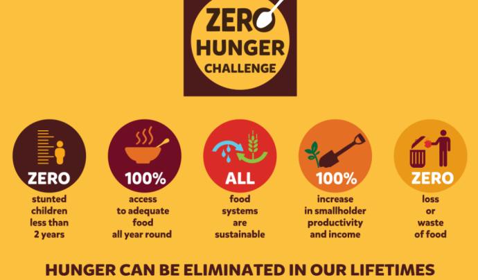 Els 5 punts que proposa el repte Zero Hunger. Font: The Hunger Project UK