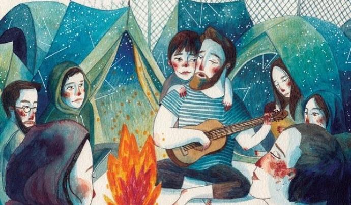 Il·lustració de Gemma Capdevila del conte 'Obriu les portes' creat amb el grup Txarango i editat per Sembra Llibres.