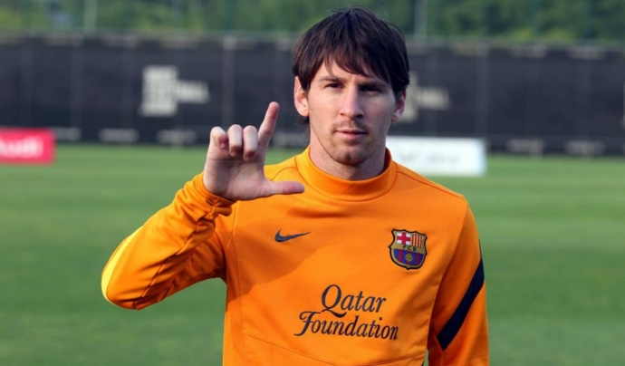 Leo Messi fent un gest per l'ELA Font: Fundació Miquel Valls