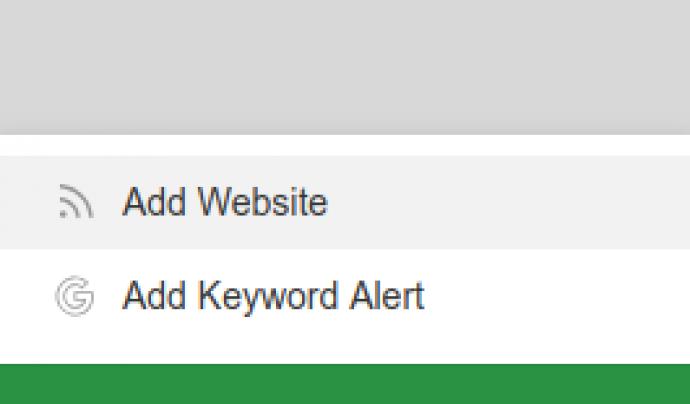 Afegirem una font fent clic a 'Add Website' Font: Feedly