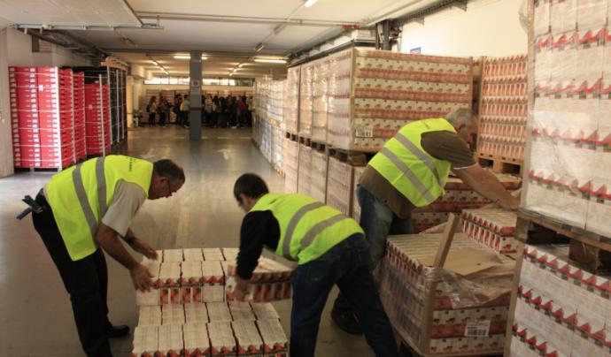 Voluntaris classificant els productes obtinguts al Gran Recapte Font: Banc dels Aliments