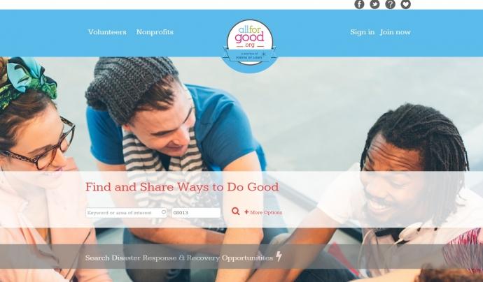 Pàgina de benvinguda de la plataforma All For Good. Font: All For Good