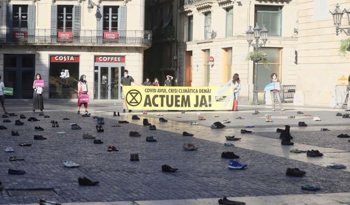 Acció davant la Plaça Sant Jaume duta a terme durant les darreres setmanes. Font: Mar Cervino