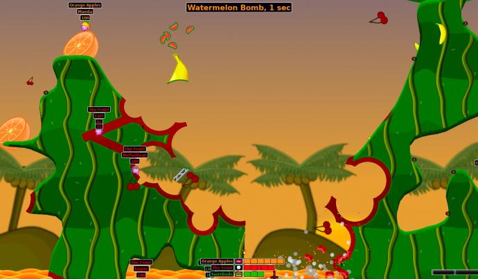 Hedgewars és l'alternativa de programari lliure del Worms. Imatge de Hedgewars. Font: Hedgewars