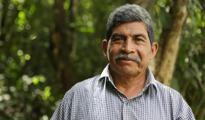 El líder indígena guatemaltenc Rodrigo Tot defensa  els drets sobre la terra de la comunitat Q'eqchi  Font: Premi Goldman