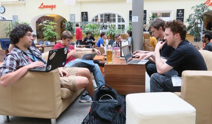 Un moment de la passada Wikimedia Hackathon 2017