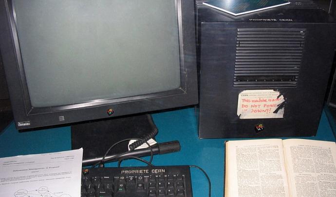 El Next Cube va ser el primer servidor de pàgines web connectat a Internet. Font: autoria desconeguda.
