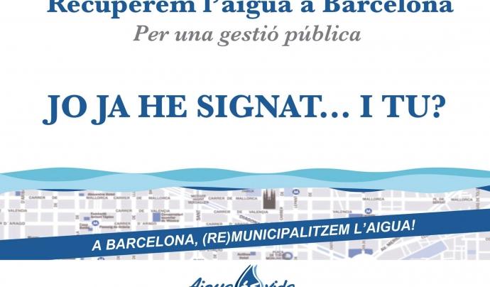 Recollida de signatures per demanar la gestió pública de l'aigua a Barcelona Font: Aigua és vida