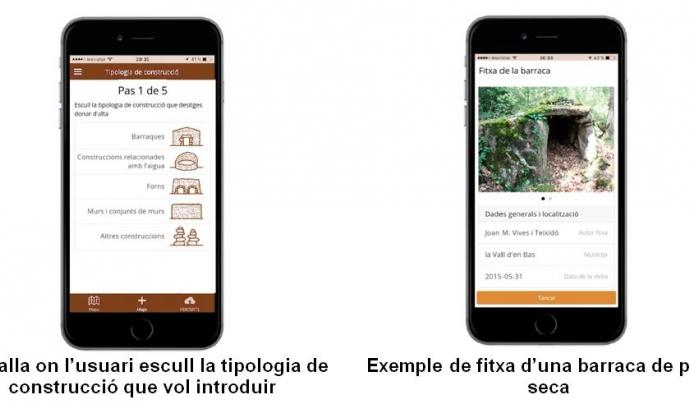 Es poden identificar divers tipus de construccions i pujar les fitxes a l'app Font: Pedra Seca Adrinocs App