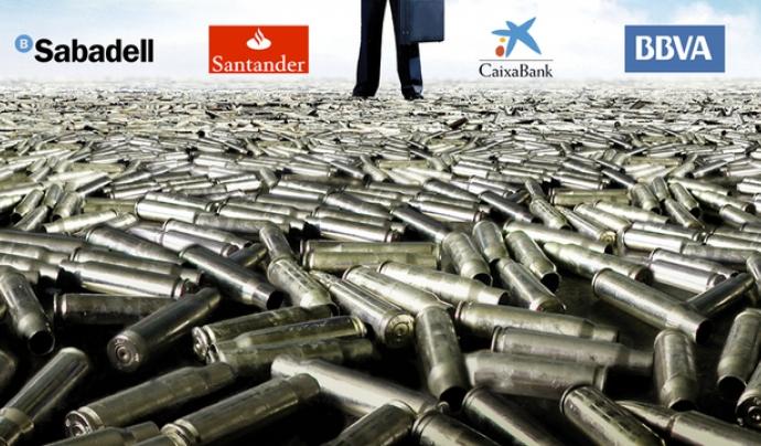 La Campanya Banca Armada denuncia les inversions en empreses d'armament per part dels bancs.