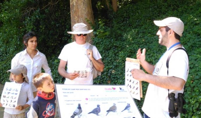 Moment de la passada edició de Bioblitz, identificant aus en el Jardí Botànic de Barcelona