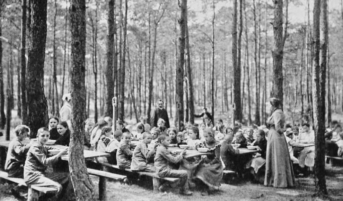 Escola del bosc per a nens i nenes malalts a Charlottemburg, Alemanya el 1904