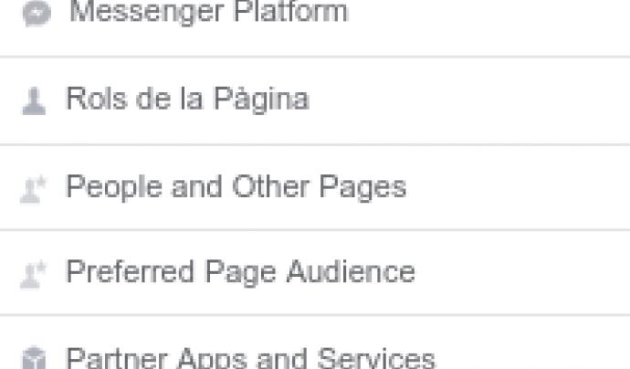 Captura de pantalla de la configuració de facebook