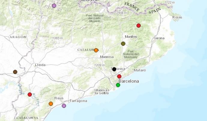 Conflictes socioambientals a Catalunya. Font: EJ-Atles