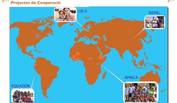 Mapa dels projectes de cooperació de l'any 2015.