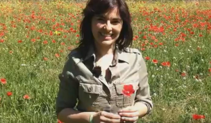 Captura del vídeo apadrinant la Setmana de la Natura, esdeveniment que busca donar visibilitat a les entitats i col·lectius que treballen pel medi ambient.  Font: Cori Calero